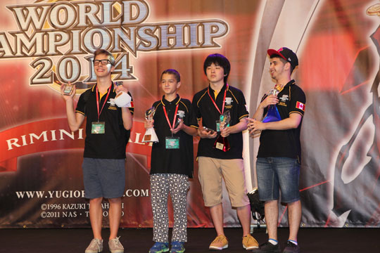 World Championship 2014 Top 4 From the left: Niccoló Mazzoleni, Oliver Tomajko, Hiyama Shunsuke & Sehabi Kheireddine